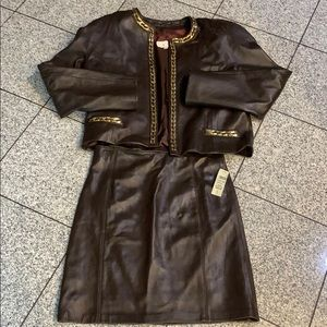 Fully lined 100% genuine leather skirt and jacket